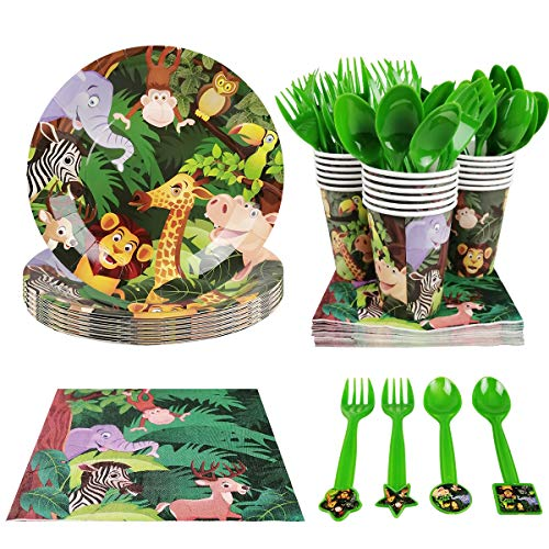 Animal Party Supplies (Cieovo Zoo Jungle Animal Party Supplies - Serves 18 Guest Includes Party Plates, Spoons, Forks, Cups, Napkins Party Pack Perfect for Safari Animal Themed Birthday Shower Parties)