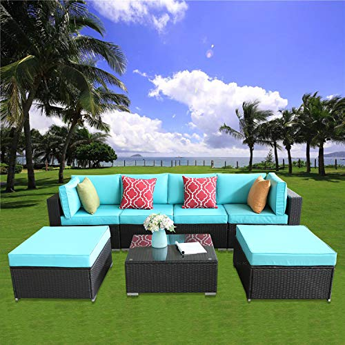 HTTH Outdoor Furniture Set Patio Sectional Sofa Wicker Patio Set All Weather PE Rattan Conversation Set with Footstool Glass Table Espresso Wicker, Turquoise Cushions Covers (0806-EXP-TRQ)