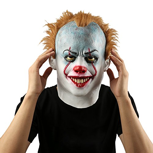 Super Scary Costumes For Halloween (Scary Evil Clown Mask,Halloween Costume Party Mask for Masquerade/Birthday Parties,Carnival Decorations)