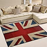 british 5x7ft - Naanle British Flag Area Rug 5'x7', Vintage Style Union Jack Flag Polyester Area Rug Mat for Living Dining Dorm Room Bedroom Home Decorative