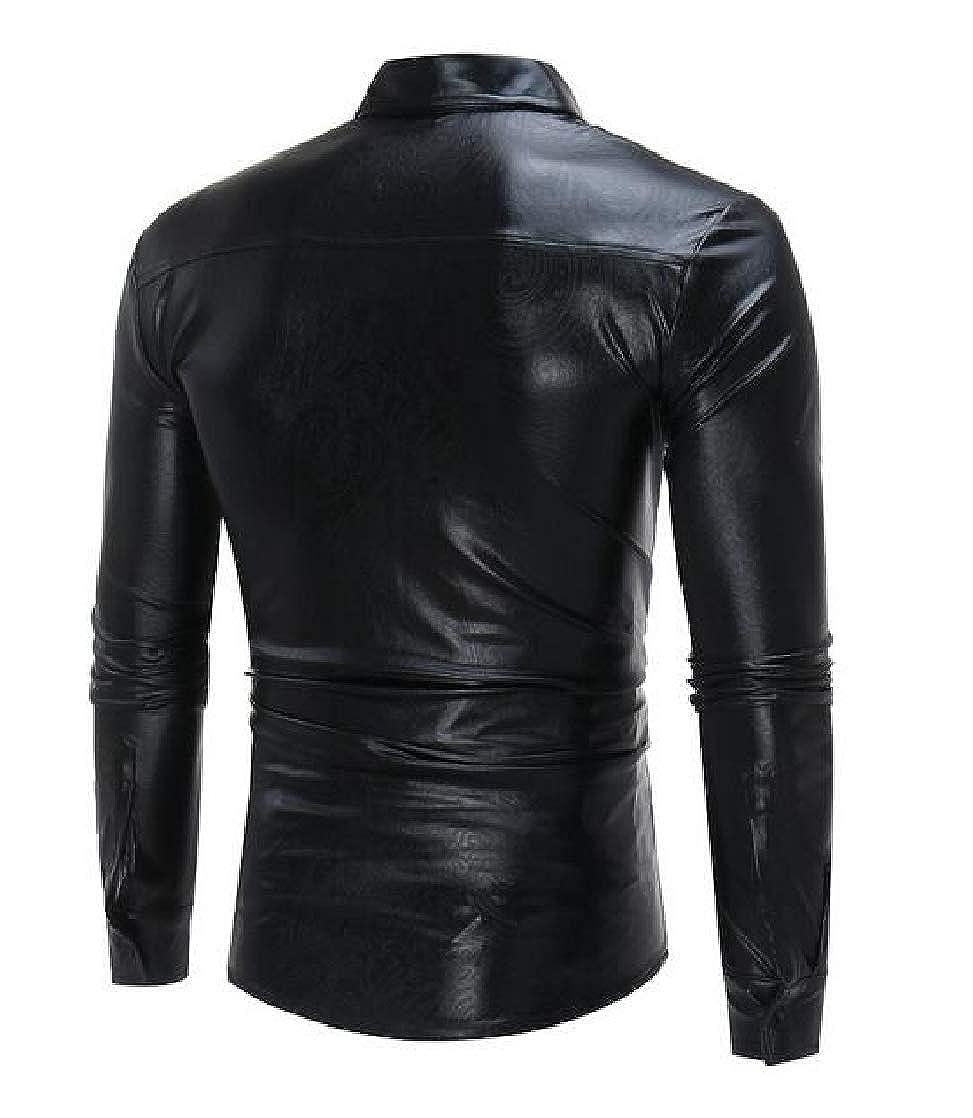 Etecredpow Mens Jacquard Long Sleeve Lapel Neck Metallic Slim Button Down Shirts