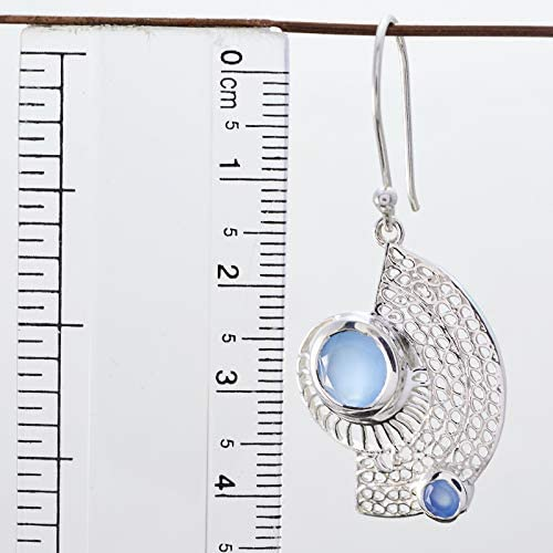 Solid Silver Blue Blue Chalcedony Natural Gemstone Earring RGPL Natural Gemstone Faceted Blue Chalcedony Earring Wedding Jewelry Highest Item Gift for Children Day Earring