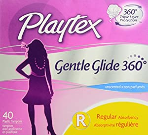 Playtex Gentle Glide Tampons, Unscented Regular Absorbency, 40 Count