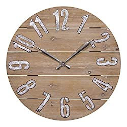 Lacrosse 404-3960W 23.5 Inch Rustic Wood Quartz Wall Clock