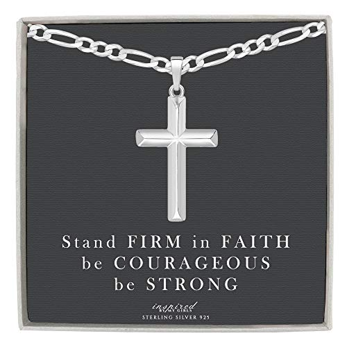 Chain Figaro Cross - Mens Sterling Silver Cross Necklace Figaro Chain and Faith Card Gift - 100-22