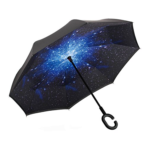 er Folding UV Proof and Windproof Inverted Umbrella with C-shaped Hand for Car Outdoor (Star) (C&c Star)