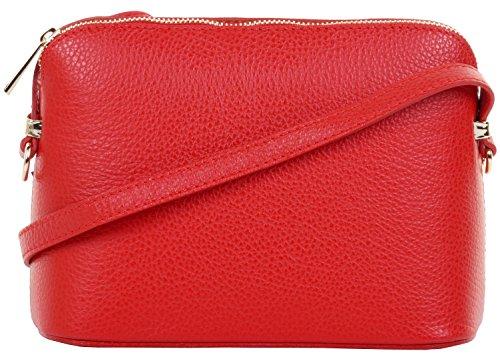 un rangement ou triangulaire nbsp;Comprend cuir protecteur sac épaule texturé marque réglable Italien sac petite bandoulière de sangle artisanal Rouge 4Fqnfw7