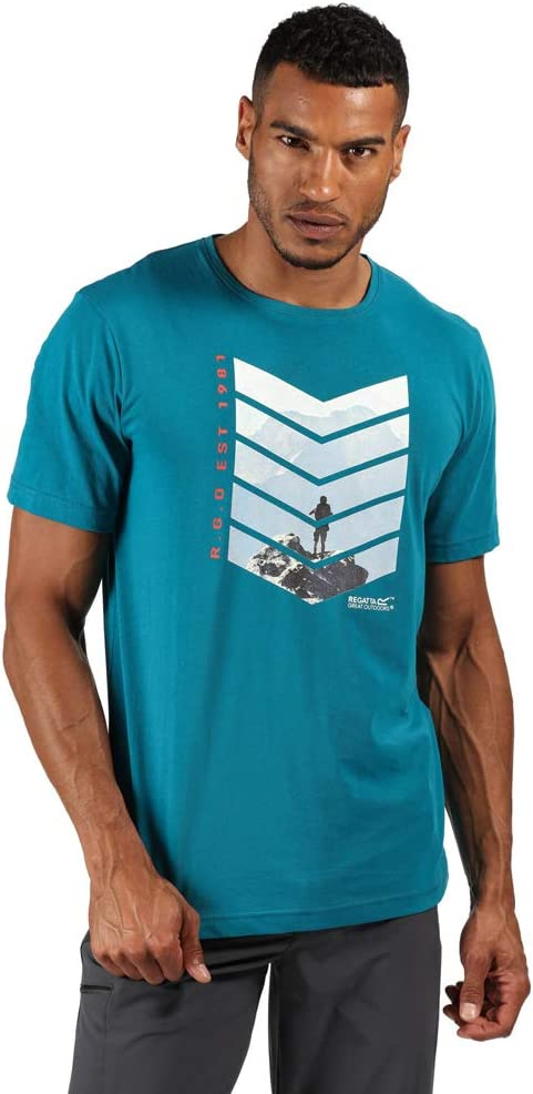 Regatta Mens Breezed Active Short Sleeve Cotton Printed T-Shirts//Polos//Vests