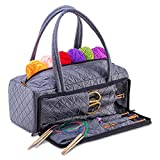 DeNOA Lightweight Quilted Craft Tote - Sewing and Knitting Yarn Storage Bag - Needle and Accessory Pocket - Slate
