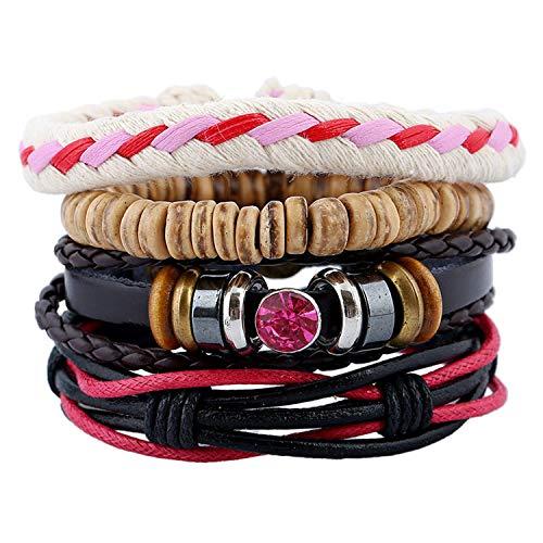 - cengXY160h Fashion Handmade Weave Vintage Boho Hippie Cuff Beads Leather Infinity Charm Male Men Bracelets Women Female Jewelry,T14