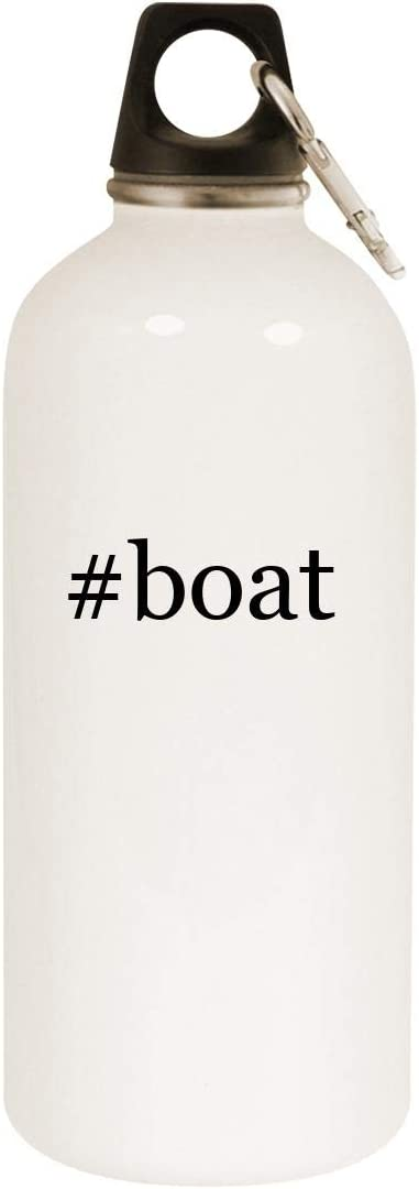 #boat - 20oz Hashtag Stainless Steel White Water Bottle with Carabiner, White
