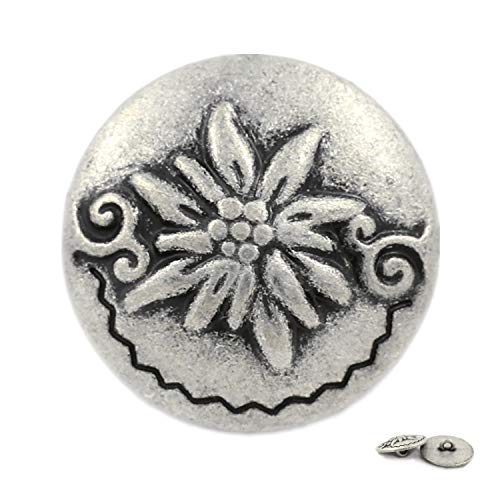 Bezelry 12 Pieces Edelweiss Antique Silver Metal Ring Shank Buttons 20mm (3/4 inch) ()