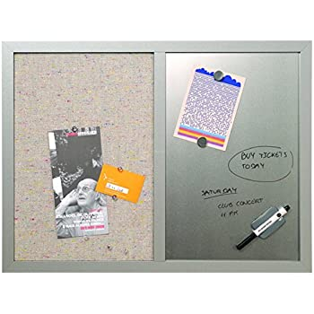 "MasterVision Combo Whiteboard Dry Erase and Grey Fabric Bulletin Board, 18"" x 24"", Grey Frame"
