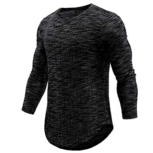 - ◕‿◕ Toponly Personality Mens O Neck Casual Slim Long Sleeve Shirt Top Blouse