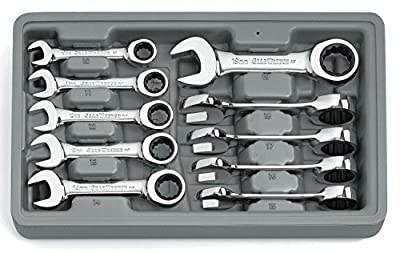 GearWrench 9520 10 Piece Metric Stubby Combination Ratcheting Wrench Set