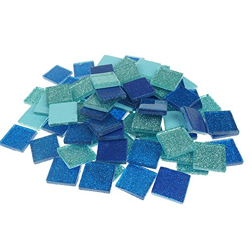 Bilipala Glass Tile, Glass Mosaic Tile, 0.8 x 0.8 Inch, 0.6 Pound, Cobalt and Turquoise (Mosaic Cobalt Blue)