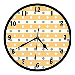 Yellow and White, Horizontal Bold Stripes with Polka Dots Old Fashioned Tile,Wall Clock Nice For Gift or Office Home Unique Decorative Clock Wall Decor 10in with Frame, Almond Green Apricot Cream