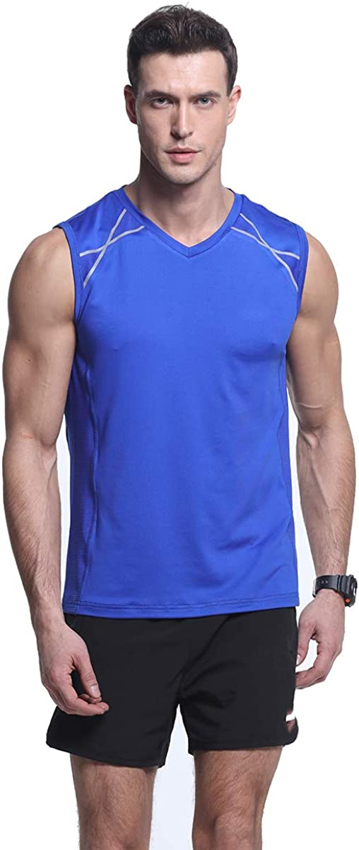 Mens Mesh Slim-Fit Sports Tank Top Quick-Dry Stretchy Workout Running Sleeveless Shirts