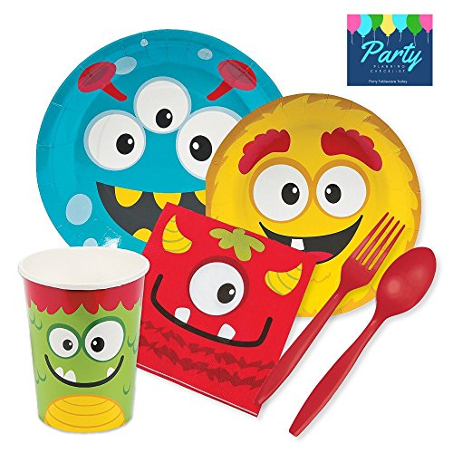 Party Tableware Today Silly Monster Party Supplies for 16 Guests - Plates, Napkins, Cups, Platicware]()