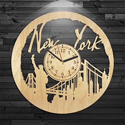 New York Wood Clock Travel Gift For Men Wall Vintage