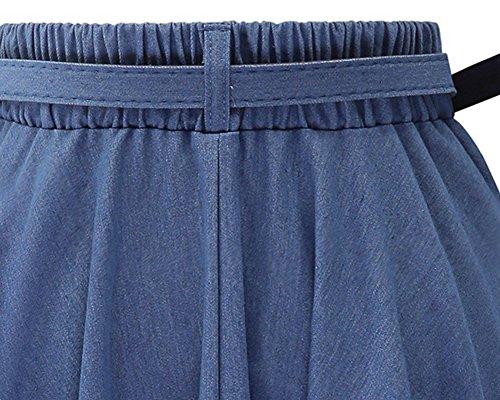 Mujer Faldas Vaquera Cintura Alta Falda Plisada Corto Vestidos de Fiesta Luz Azul