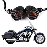#10: 2 PCS Black Heavy Duty Motorcycle Turn Signals Bulb Indicators Blinkers Lights with Bullet Shape GreenClick Amber Lens Front Rear Turn Signal Light
