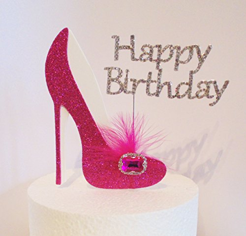 60th Pink and White Birthday Cake Decoration Shoe with Feathers and Crystal Flower Embellishments and Diamante Number Non Edible pink white feather 60