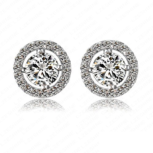 Victoria Echo Sparkling Platinum Plated Silver Cubic Zirconia Circle Stud Earrings for Women