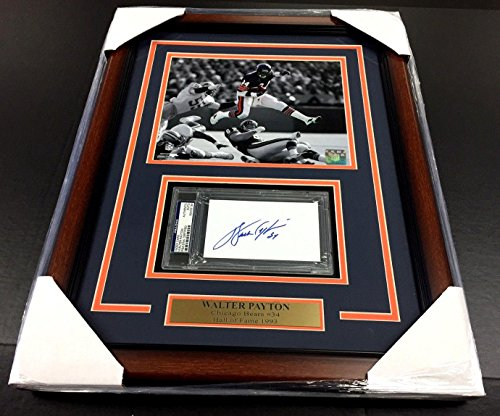 Walter Payton Signed Photograph - Certified Index Card 8x10 - PSA/DNA Certified - NFL Cut Signatures