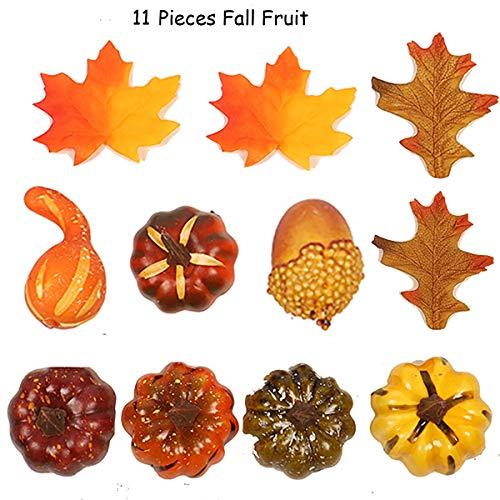 MISBEST 11PCS Artificial Pumpkins Mixed Faux Fall Color Maple Leaves Arrangement Fake Acorns Art for Craft,Wedding, Festival, Party, Thanks-Giving and Outdoor Decorating (Arrangements With Fall Pumpkins)