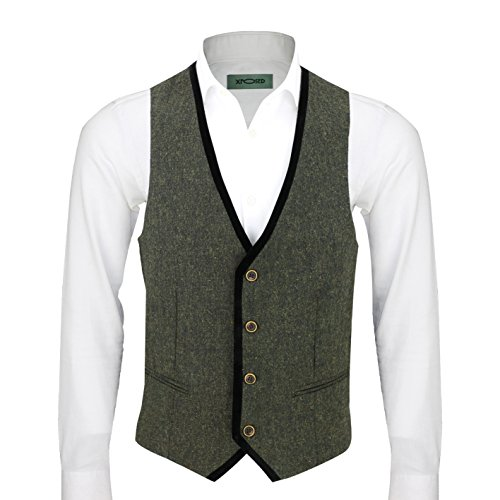 (Mens Vintage Tweed Brown Blue Green Waistcoat Black Velvet Trim Slim Fit Smart Casual Vest [Chest UK 52 EU 62,Green])