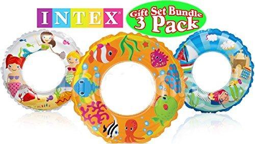 - Intex Ocean Reef Transparent Swim Rings Fish, Mermaid & Beach Gift Set Bundle - 3 Pack