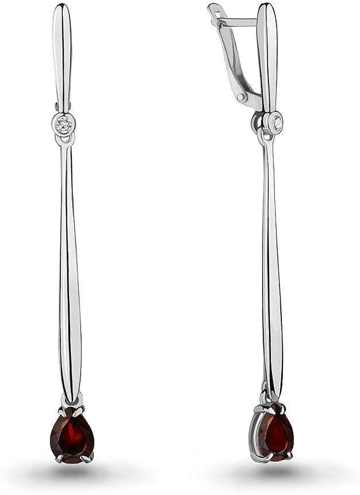 Mirkada - Pendientes para mujer de plata 925 con granate y circonitas, color rojo