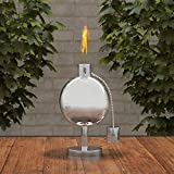 Pure Garden 50-220 Tabletop Torch Lamp-10' Stainless Steel Outdoor Fuel Canister Flame Light for Citronella with Fiberglass Wick for Backyard, Patio