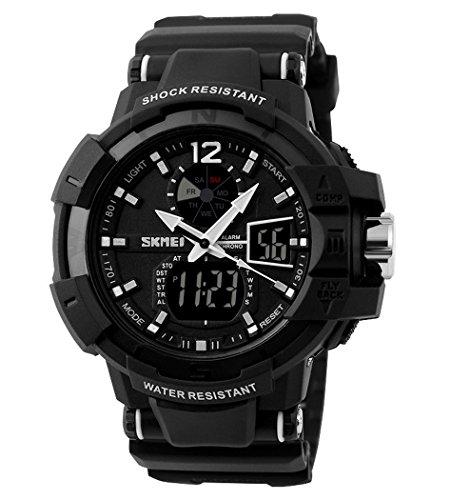 Fanmis® Multi Function Waterproof Digital LCD Alarm Date Mens Military Sports LED Wrist Watch - Black
