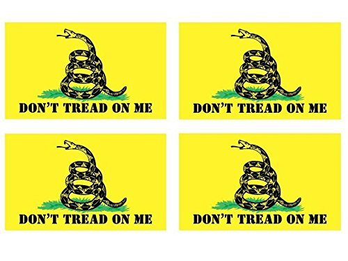 Gadsden Flag Sticker - 4-Pack / Gadsden Don't Tread On Me flag Printed size: 5x3