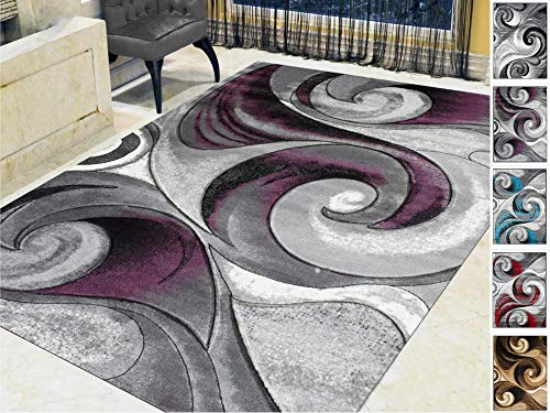 Handcraft Rugs-Swirls Abstract Design Modern Contemporary Hand Carved Area -