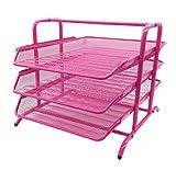 EasyPAG 3 Tier Mesh Desk Organizer Tray File Holder,Pink