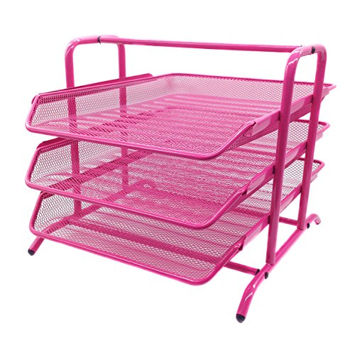 EasyPAG 3 Tier Mesh Desk Organizer Metal File Holder Mail Sorter,Pink