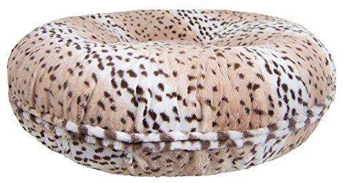 BESSIE AND BARNIE Signature Aspen Snow Leopard Luxury Extra Plush Faux Fur Bagel Pet/Dog Bed (Multiple Sizes)