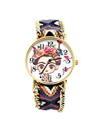 Reloj Frida Kahlo Dibujo con Correa de tela ajustable Multi Color Movimiento Análogo (Multi Color Púrpura)