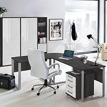 Komplett Büromöbel Set in anthrazit mit Hochglanz weiß &#x25CF ...
