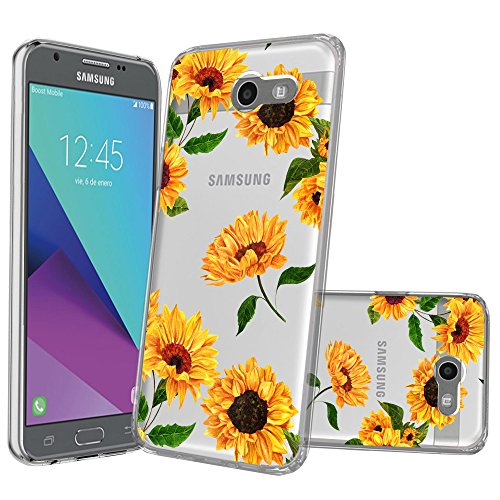 Clear MINITURTLE Case Compatible with Galaxy J3 Emerge, J3 Eclipse, J3 Luna Pro, J3 2017 [Flex Force Crystal Clear Case][Flower Series] Shock-Absorbing Protective Case - Sunflowers