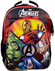 Marvel The Avengers Flashing Light-Up 16 Kids Backpack, Red and Black