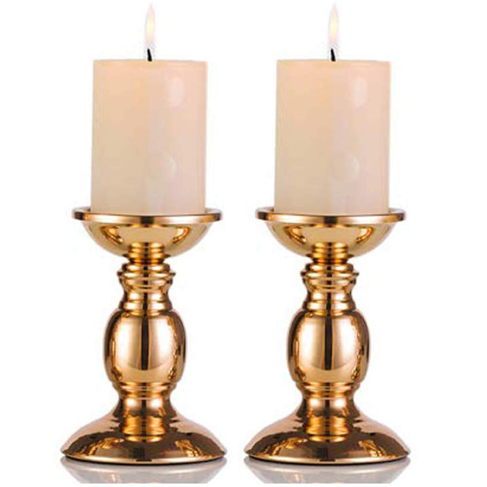 Pcs of 2 Gold Metal Pillar Candle Holders for 3'' Dia Candle, Wedding Centerpieces Candlestick Holders Stand Centerpiece Decoration Ideal for Weddings, Special Events, Parties (Gold, 2 x S)