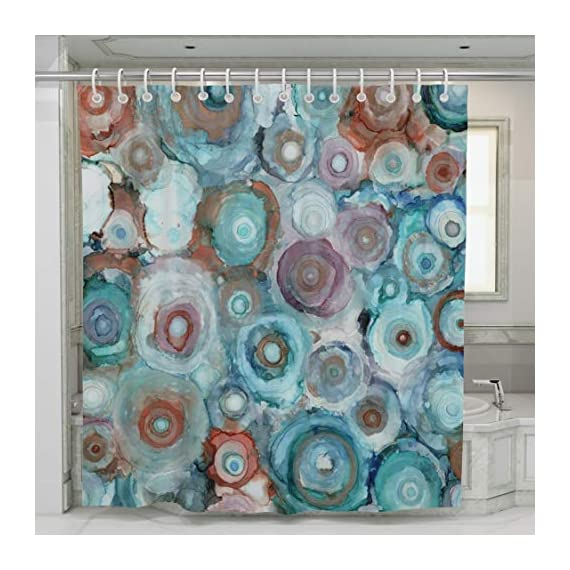 "Norman Wyatt Home Liquid Geodes Print Polyester Fabric 72""x72"" Bathroom Shower Curtain with Hooks - 100% Polyester LIQUID GEODES COLORFUL SET- this exclusive print and high quality shower curtain is sure to impress. The unique and classic, art-inspired shower curtain is designed in the USA and digitally printed in our manufacturing facility to create clean and vibrant images that will beautify your bathroom ODOR FREE-We use only premium polyester when manufacturing our high quality shower curtains. They are machine washable and 100% Mildew Resistant. - shower-curtains, bathroom-linens, bathroom - 51p2GldYoQL. SS570  -"