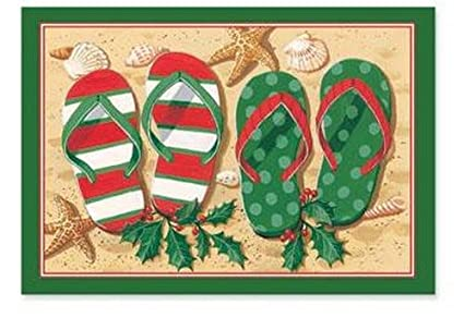 5e192e72e Amazon.com  Tropical Holiday Flip Flop Sandals Christmas Boxed ...
