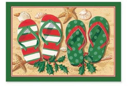 Tropical Holiday Flip Flop Sandals Christmas Boxed Greeting Cards Cape Shore