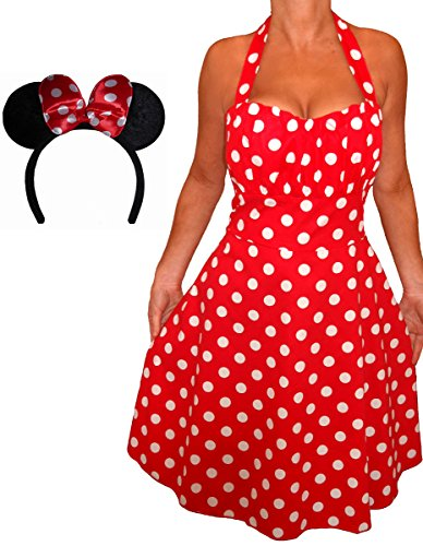 Funfash Plus Size Halloween Costume Red White Polka Dot Dress Minnie Mouse (Womens Minnie Mouse Dress)