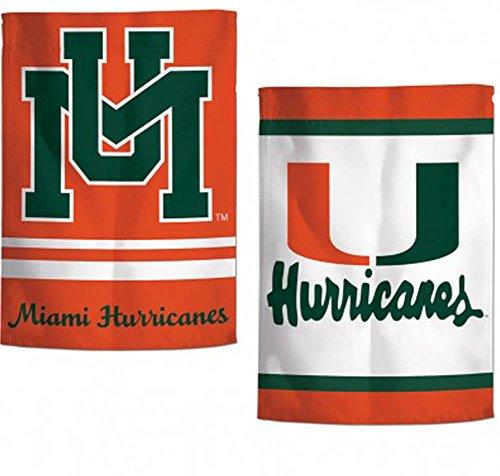 WinCraft Miami Hurricanes Retro Garden Flag 12.5 x 18 in 2 Sided, Text Logos - Miami Ncaa Hurricanes Street Sign